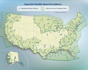 Figure 1.  ADS-B surveillance coverage, courtesy FAA (Next Gen Implementation Plan, March 2012).