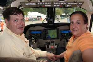 Neil and Lori Rosoff try out the Garmin 1000-equipped Commander 1000. Their 900 will also come equipped with the G1000.