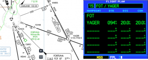 Figure 1. The 091 degree course from FOT to YAGER is different than shown on a GPS plan.
