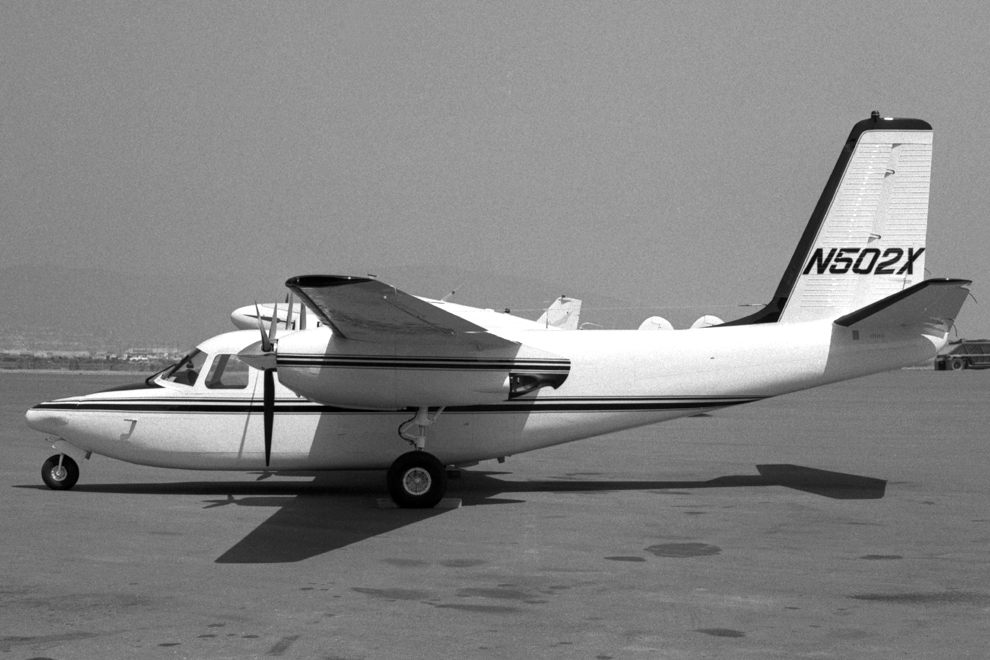Scanned from a negative in the author's collection, N502X is s/n 720-675-8. Note that the windshield installation used a glass pane, and to limit the curvature to a single plane an aluminum eyelid had to be added to fill in the upper four-to-five inches of the normal Aero Commander windshield opening. Note that a Chamberlain 2001X nose radome has been installed under STC SA1-143. In January 2000, N502X was spotted at San Juan-Isla Grande, Puerto Rico, reportedly stored by side of runway for rebuild. However, the FAA registration was cancelled in October 2014, having expired.