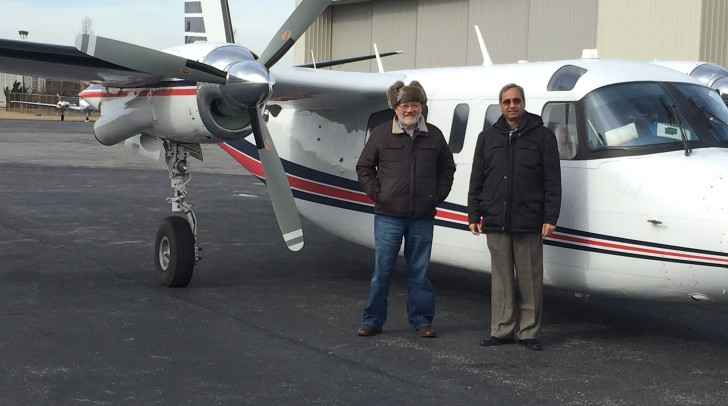 Abe Abuchowski (left) is flying a leased 690B while his 690B gets updated with a Garmin G950 panel. To his right is Dr. Hemant Misra, VP Clinical Operations at Prolong Pharmaceuticals where Abuchowski is CEO.