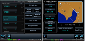 Figure 1. Flight Plan to KSLC, and the OGD leg identified in that plan (left). Default choices for the hold (right), with tiles to change each choice.