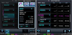 """Figure 3. Hold added by the Direct To method (left) and the Flight Plan (right) when """"Hold Activate"""" is selected."""