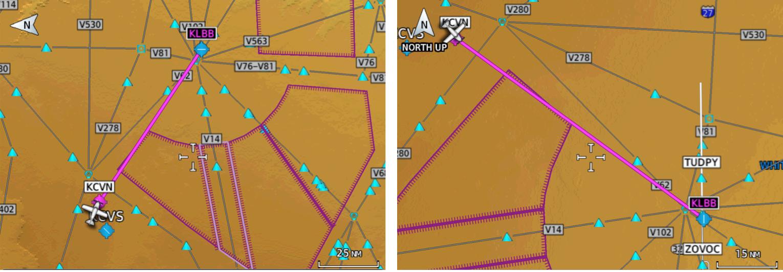 Figure 2. A one-leg flight plan with an Approach added – after Destination.