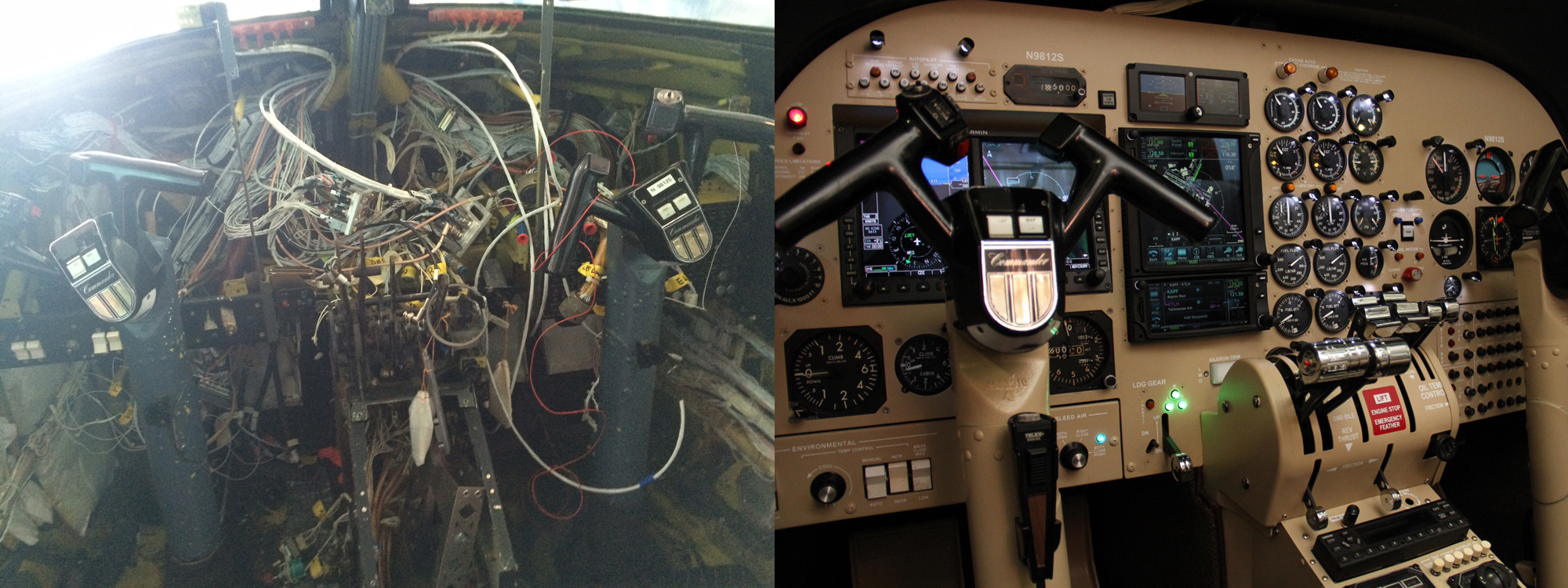 Avionics panel before and after.